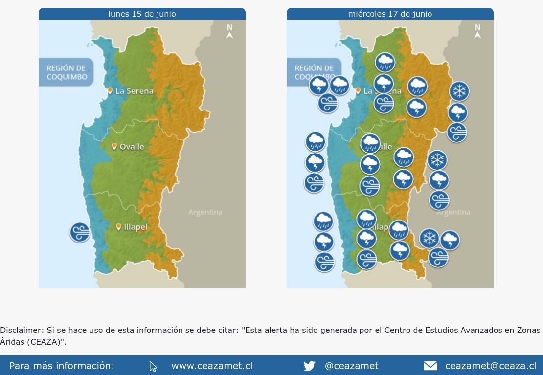 Precipitaciones del miércoles vendrían con vientos de hasta 70 km/h en toda la costa de la Región de Coquimbo